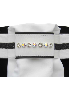 Plastron Judi Classic Crystal Fabric Black met black piping